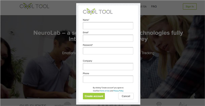 how to create an account at cooltool
